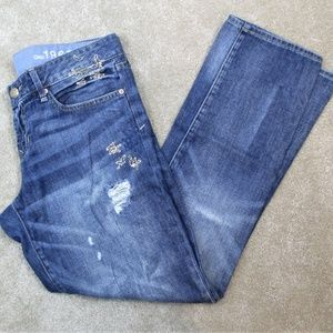 GAP 1969 Real Straight EMBROIDERED Distressed JEAN
